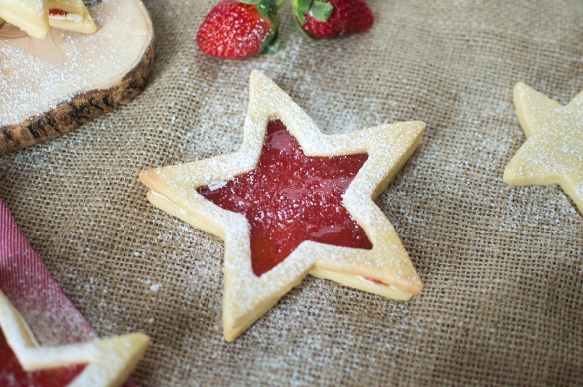 Jam Star Biscuits With Buttercream And Strawberry Jam - Kay's Kitchen