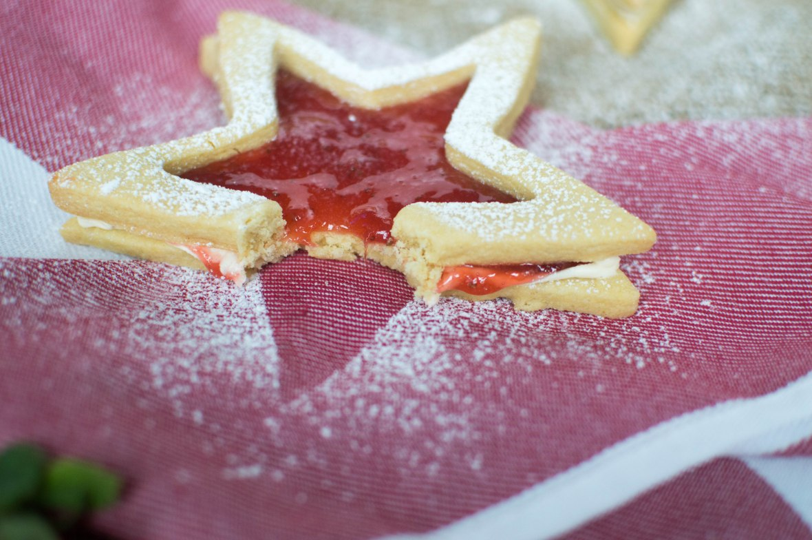 Jammy Star Biscuits With Buttercream And Homemade Strawberry Jam - Kay's Kitchen