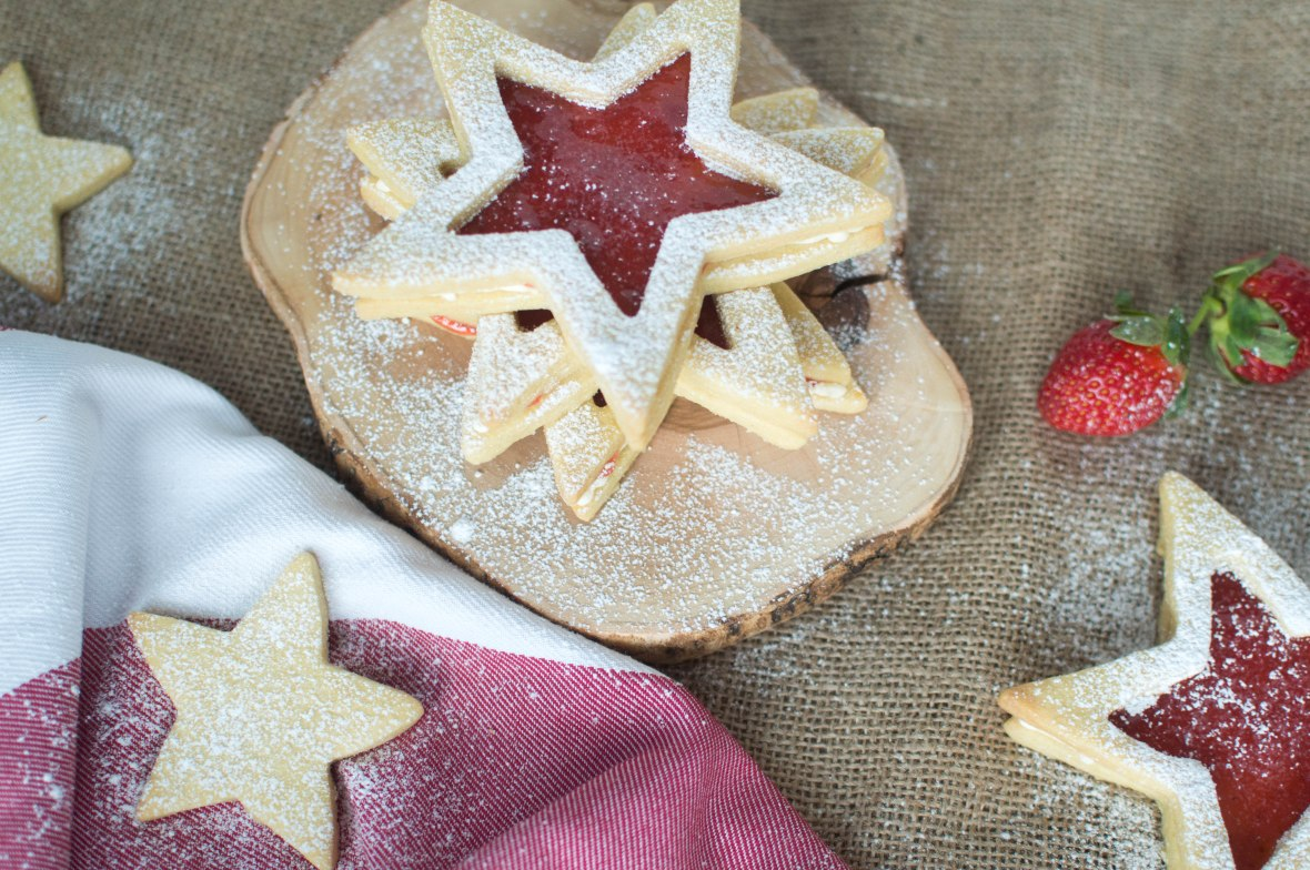 Jammy Star Biscuits With Homemade Strawberry Jam and Buttercream - Kay's Kitchen