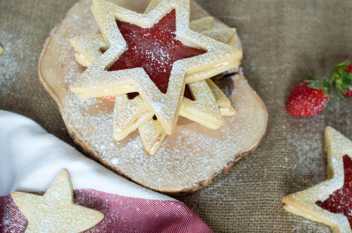 Star Shortbread Biscuits with Homemade Jam and Buttercream - Kay's Kitchen