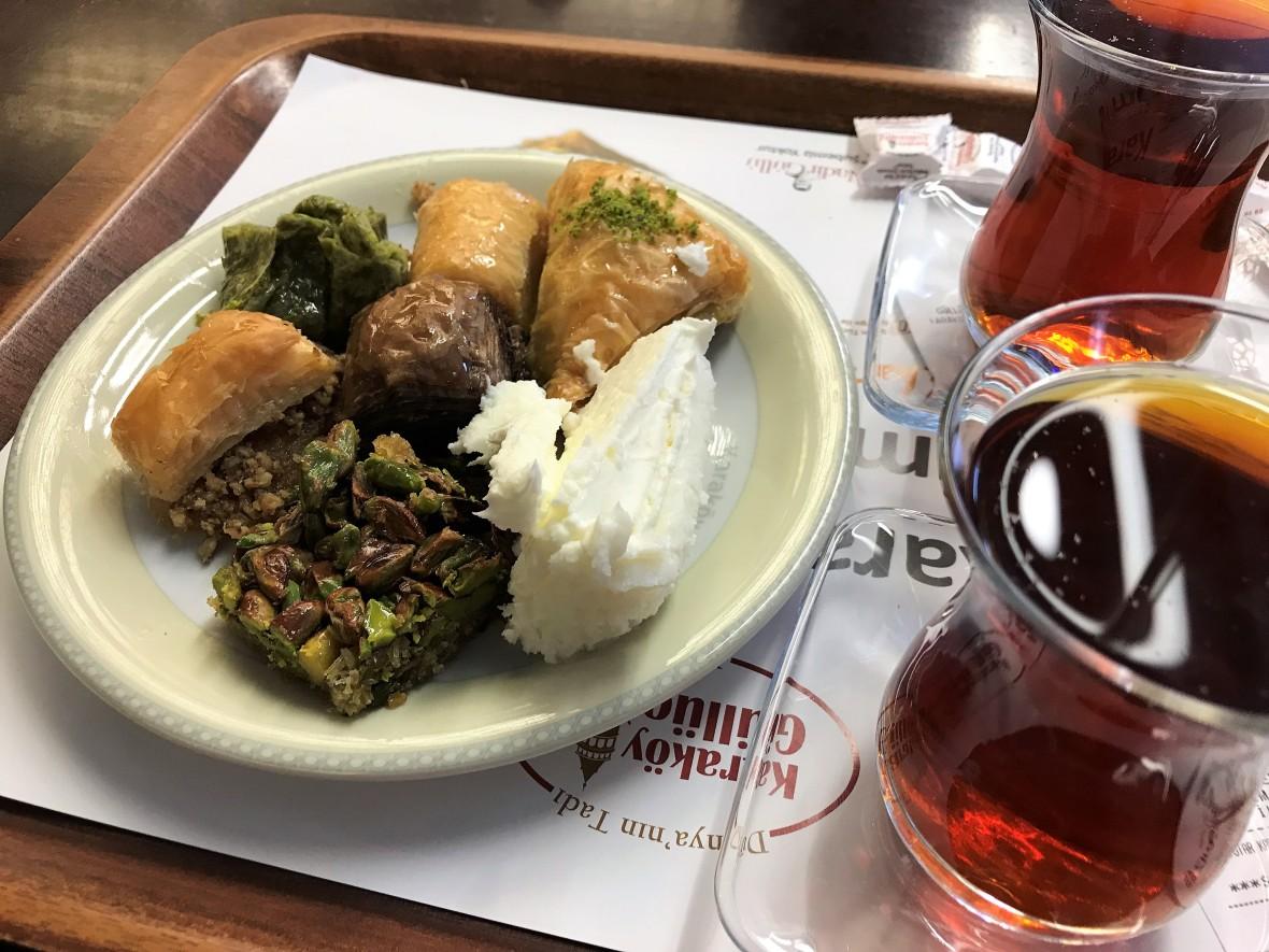 baklava with kaymak, karaköy güllüoğlu, istanbul, turkey