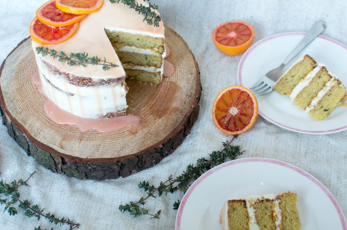blood orange, almond and thyme cake - kay's kitchen