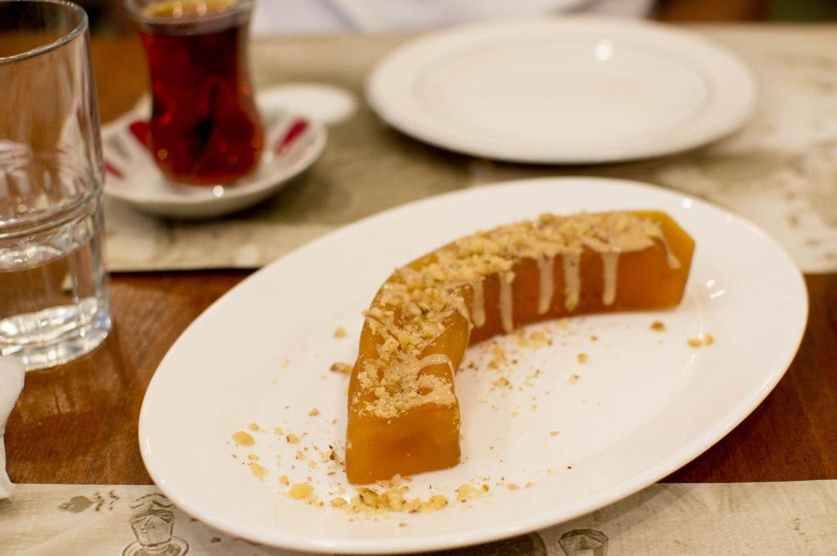 candied pumpkin dessert with tahini, Çiya sofrası, istanbul, turkey