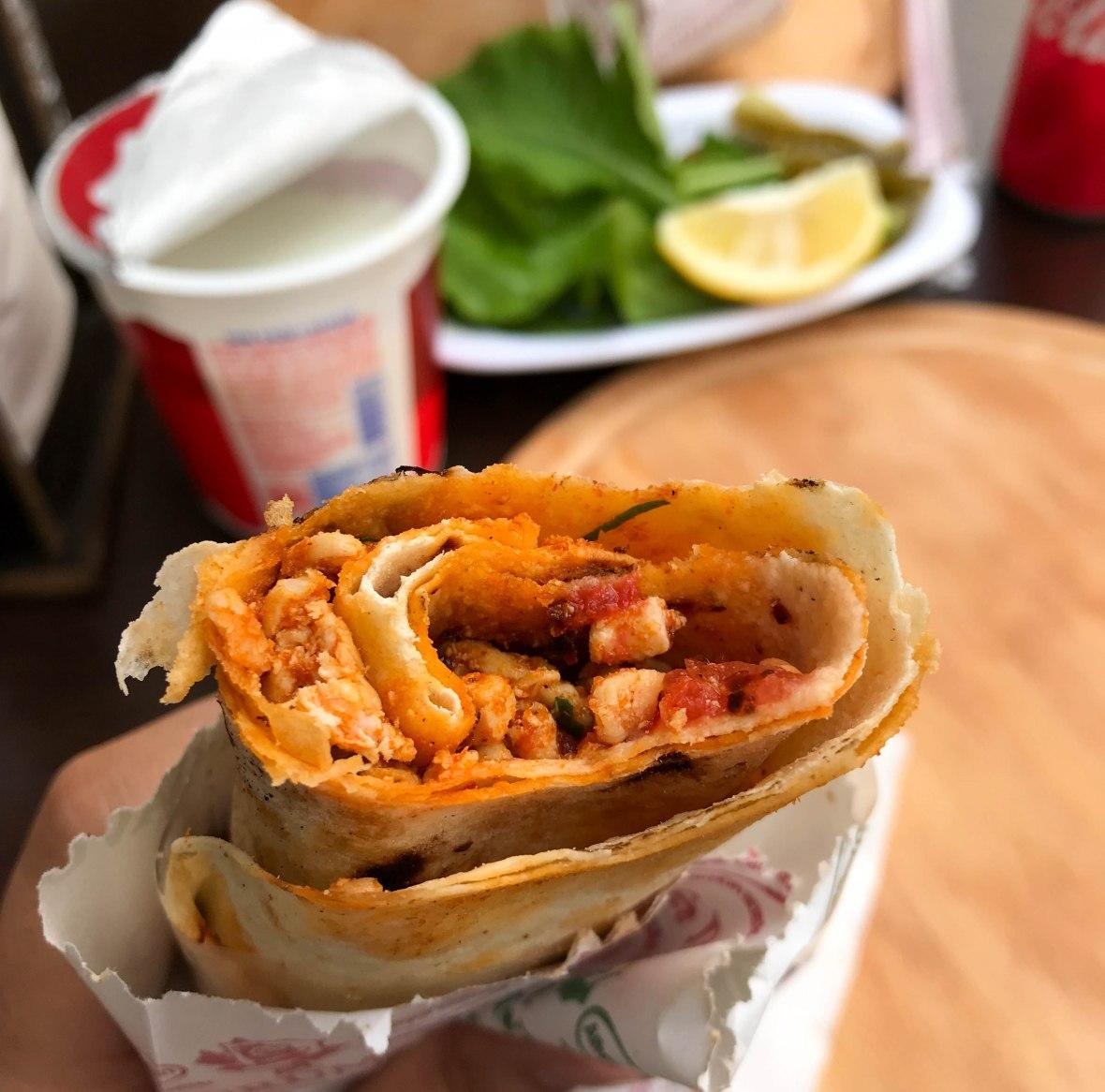 chicken tantuni wrap, dürúmcü nihat usta, istanbul, turkey