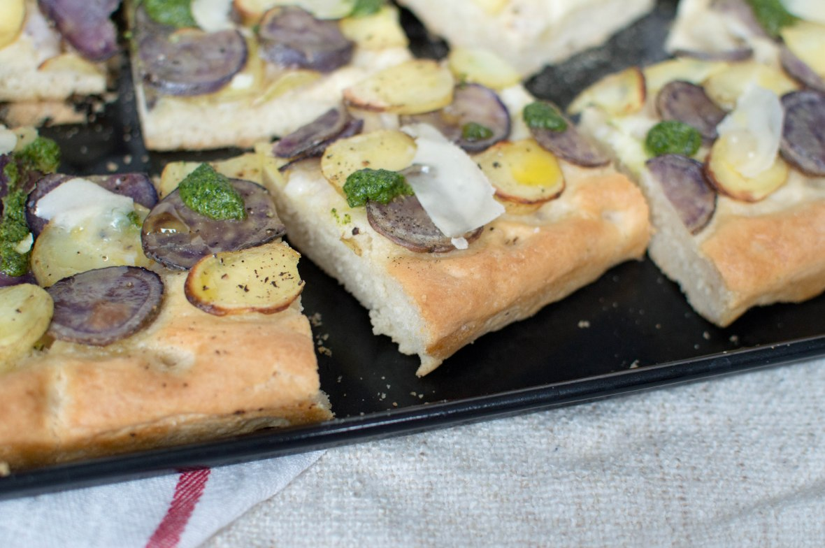 focaccia with colourful potatoes, kale pesto and parmesan - kay's kitchen