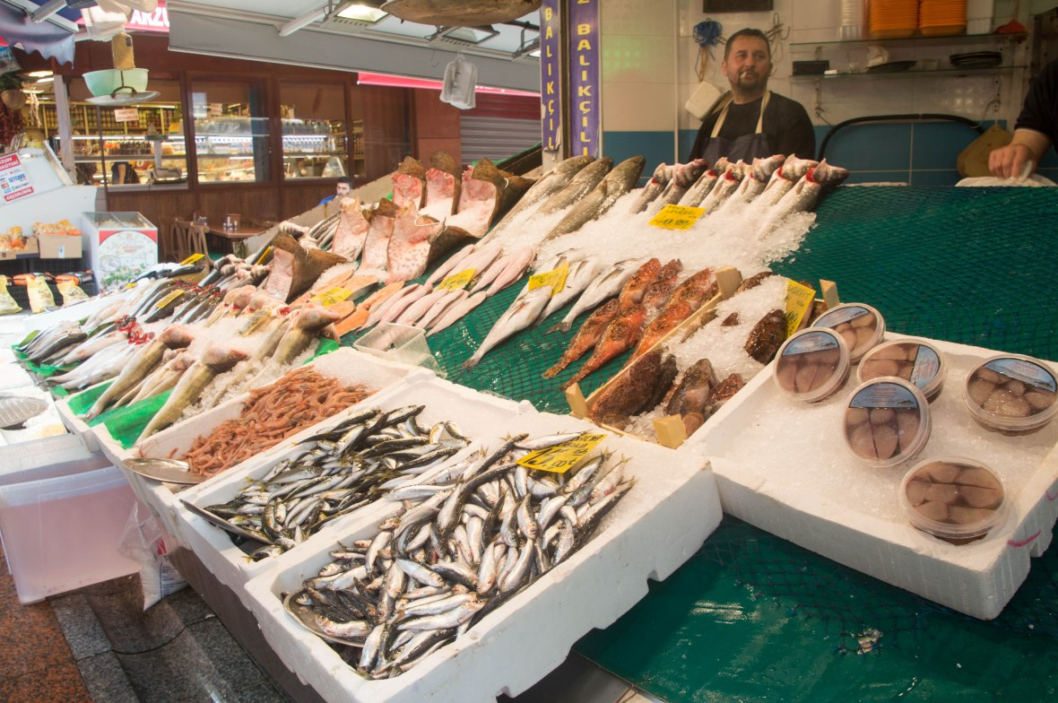 fresh fish, market, asian side, istanbul, turkey