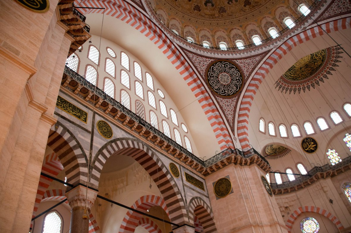 inside süleymaniye mosque, istanbul, turkey