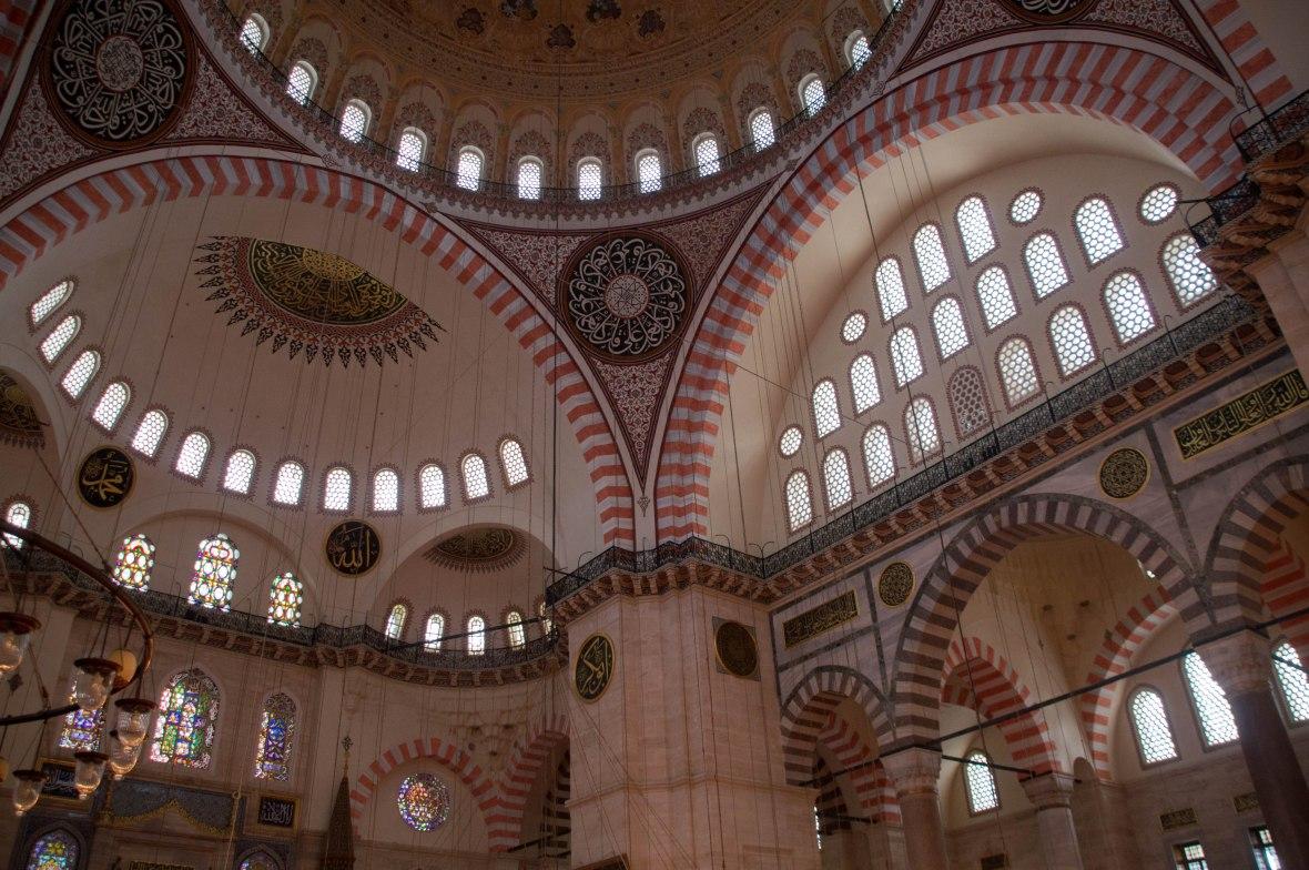inside suleymaniye mosque, istanbul, turkey