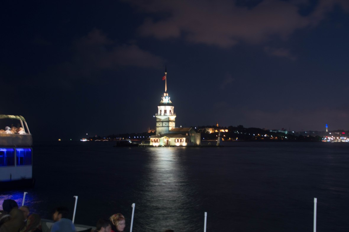 nighttime, maiden's tower, istanbul, turkey