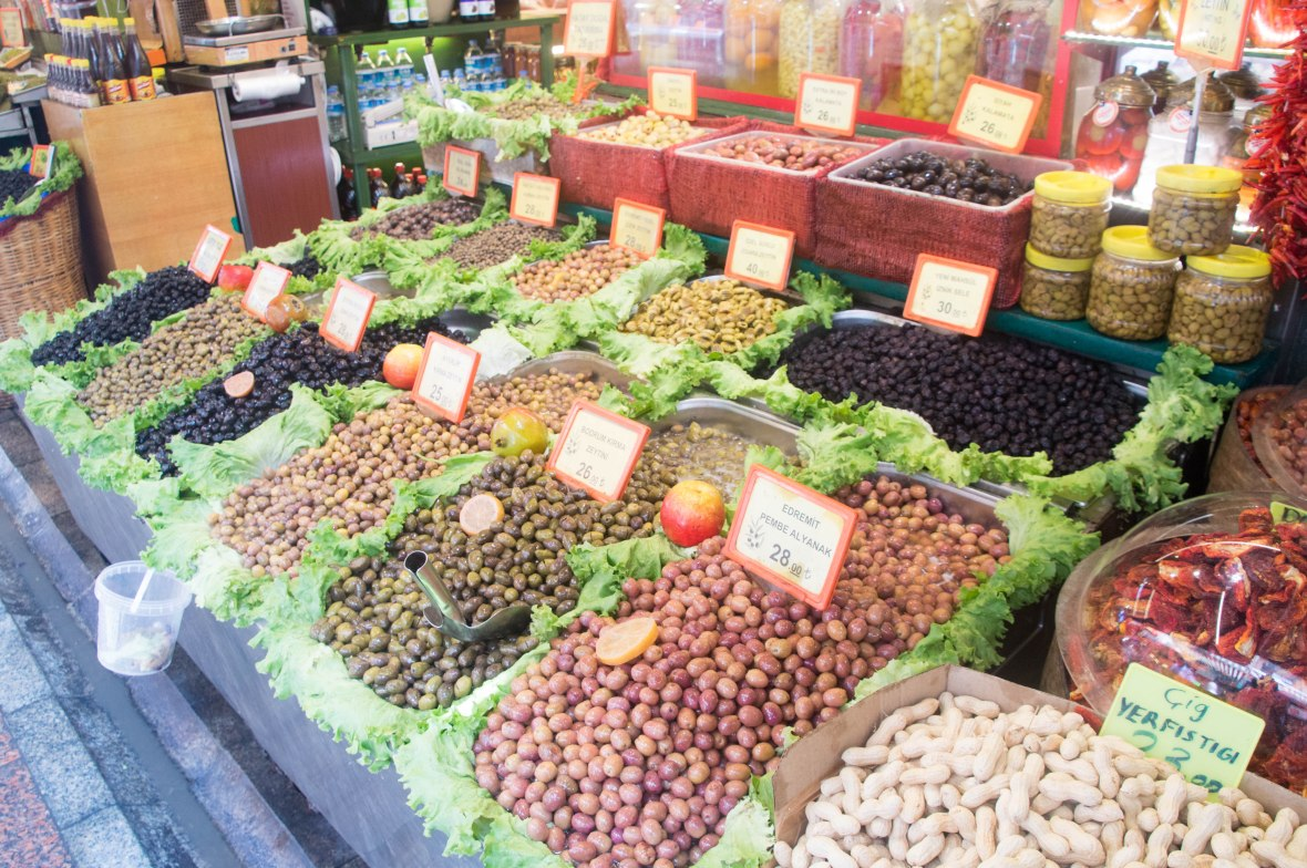 olives, market, asian side, istanbul, turkey