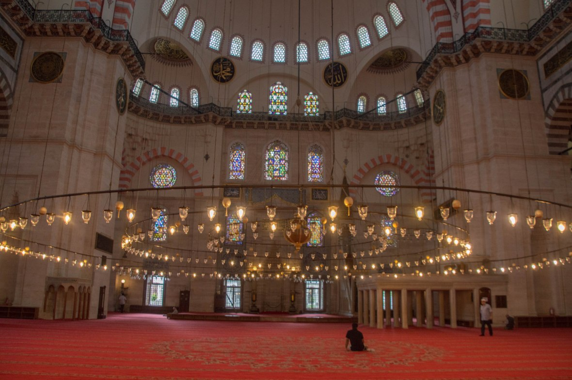 prayer hall, süleymaniye mosque, istanbul, turkey