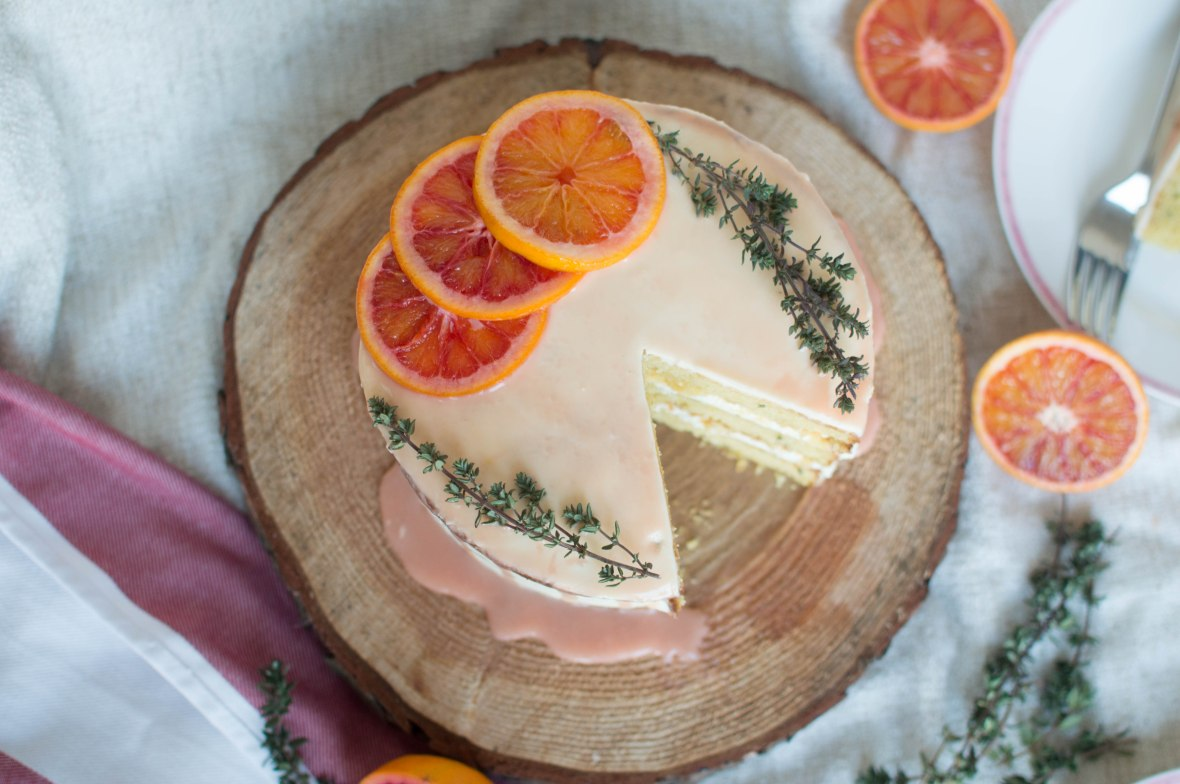recipe for blood orange, almond and thyme cake - kay's kitchen