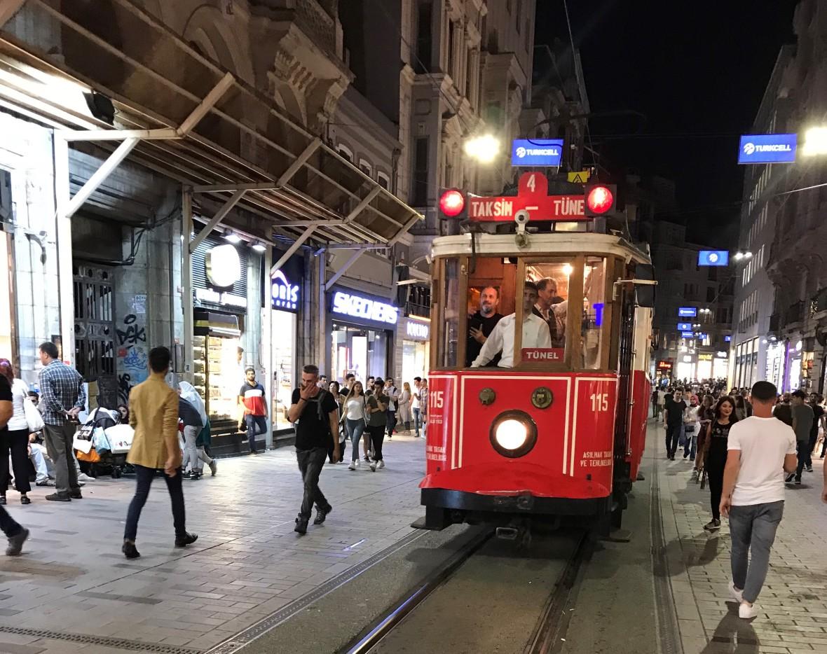 red tram, taksim, istanbul, turkey
