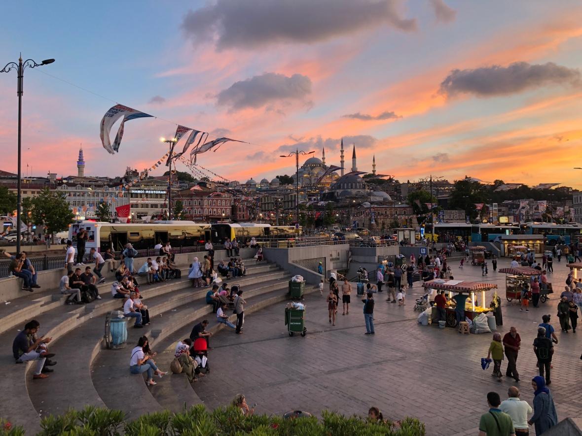 sunset, eminönü, istanbul, turkey