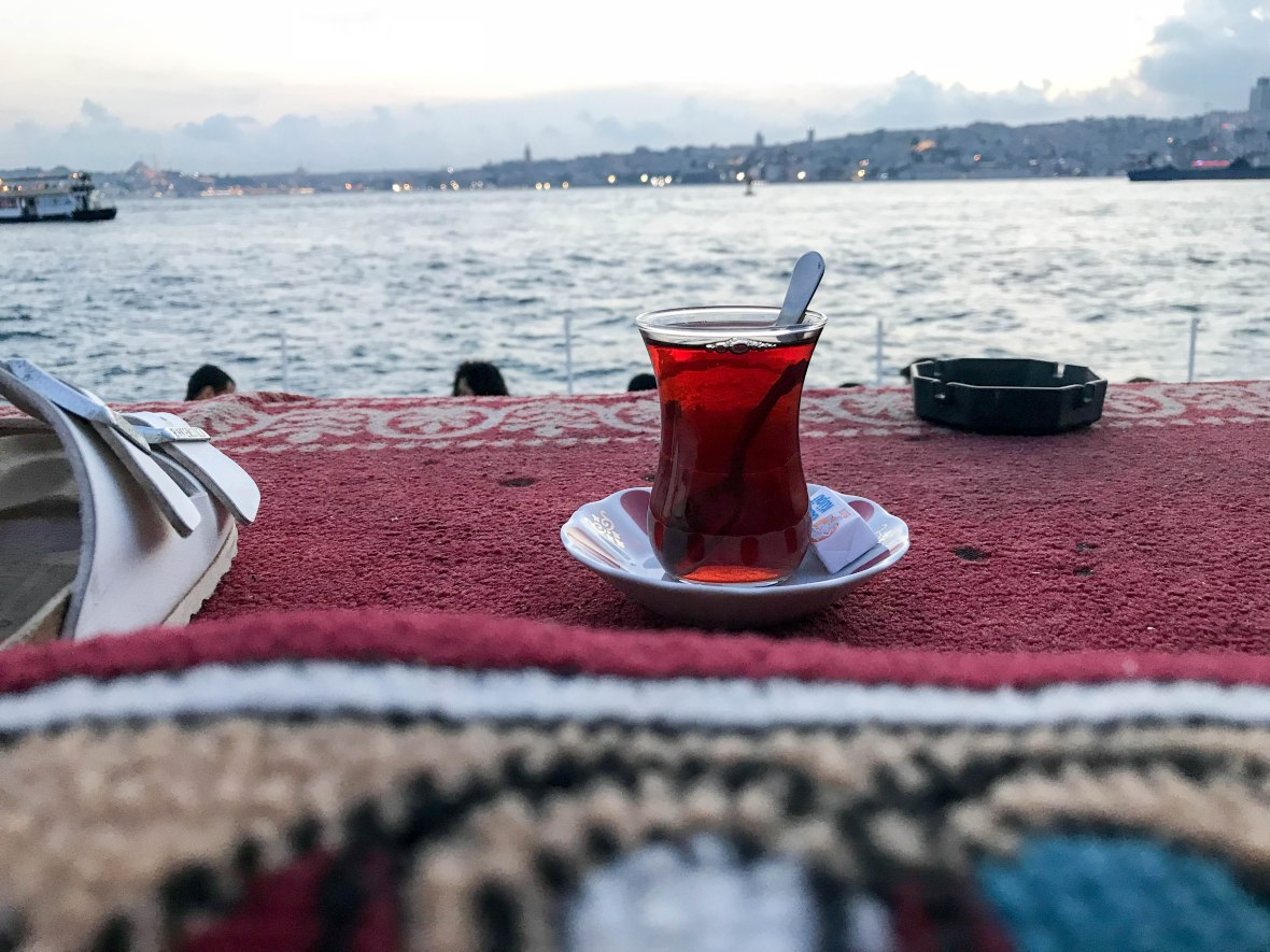 tea at the maiden's tower, istanbul, turkey