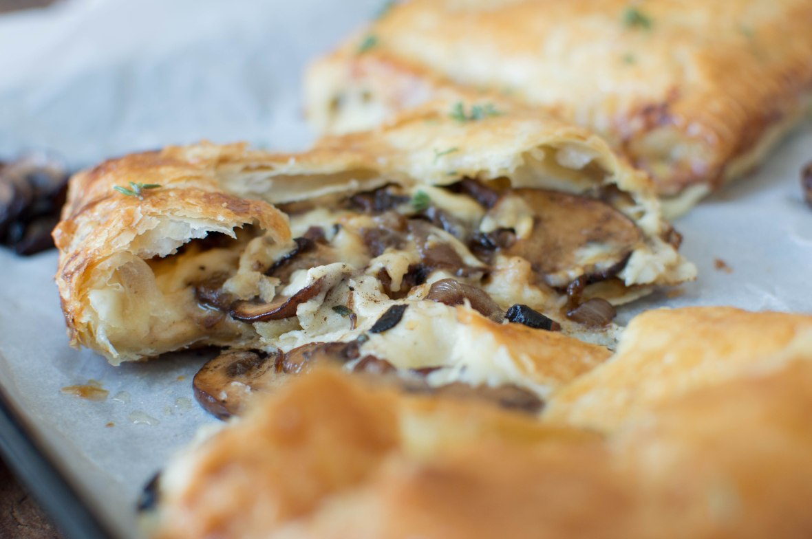Black Garlic, Mushroom And Cheddar Pastries With Salted Thyme Honey Drizzle - Kay's Kitchen