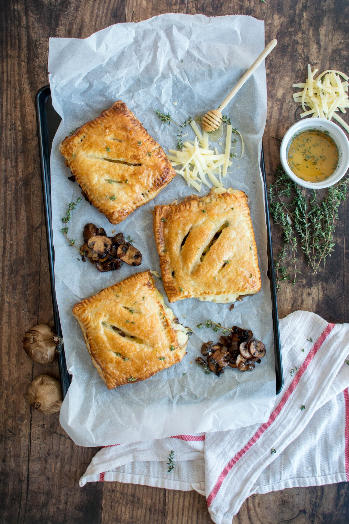 Black Garlic, Mushroom And Cheddar Pasty With Salted Thyme Honey Drizzle - Kay's Kitchen