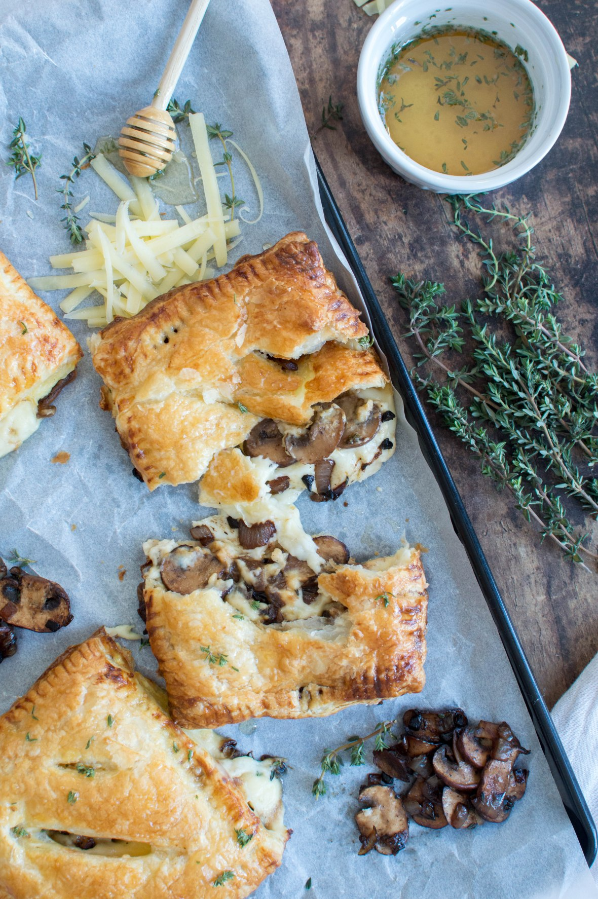 Black Garlic, Mushroom & Cheddar Pasties With Salted Thyme Honey Drizzle - Kay's Kitchen