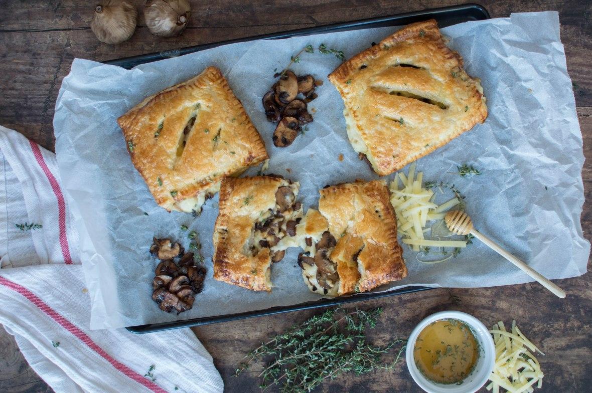 Cheesey Bechamel And Black Garlic Mushroom Pasties - Kay's Kitchen