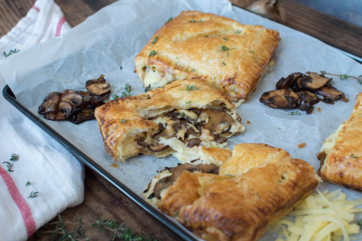 Cheesey Bechamel And Black Garlic Mushroom Pasties With Thyme Honey Drizzle - Kay's Kitchen