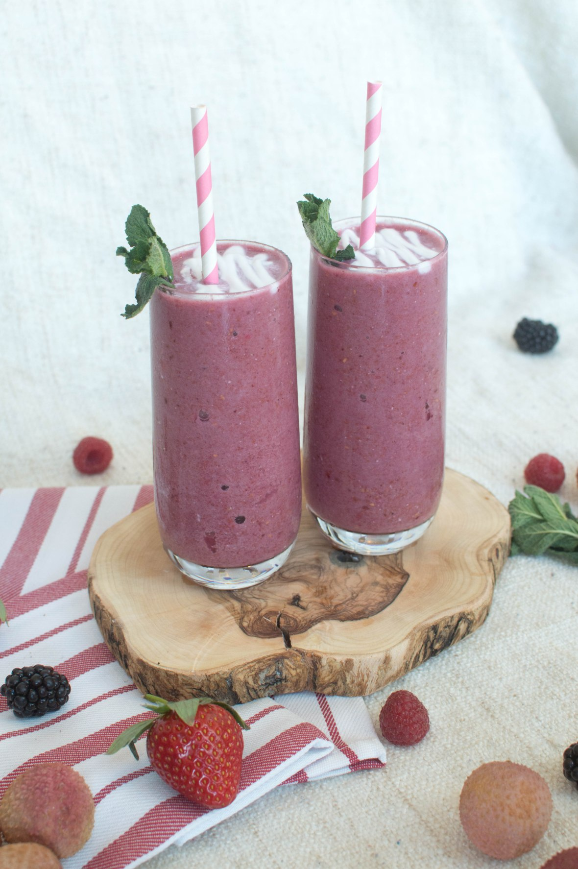 Lychee Berry Smoothie With Coconut - Kay's Kitchen
