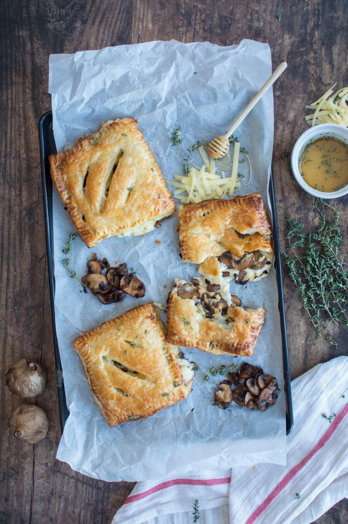 Recipe For Black Garlic, Mushroom & Cheddar Pasties With Salted Thyme Honey Drizzle - Kay's Kitchen