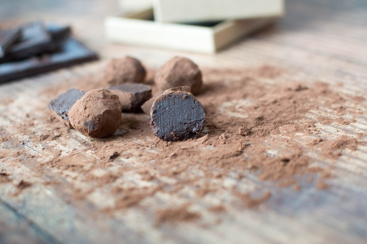 Sliced Open Dark Chocolate Truffles - Kay's Kitchen