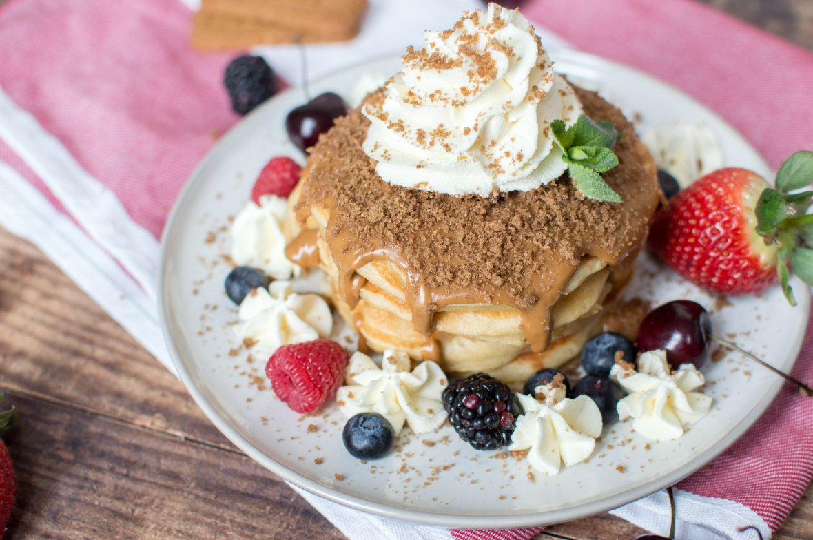 Lotus Pancakes With Whipped Cream - Kay's Kitchen
