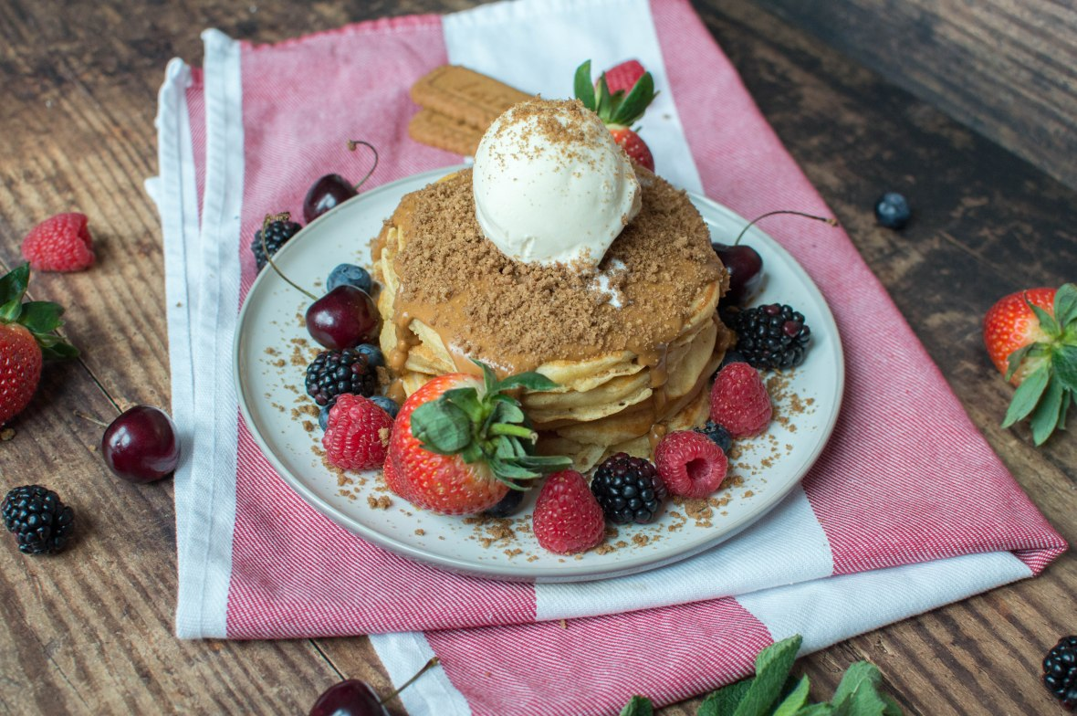 Pancakes With Lotus Biscoff, Vanilla Ice Cream & Mixed Berries - Kay's Kitchen