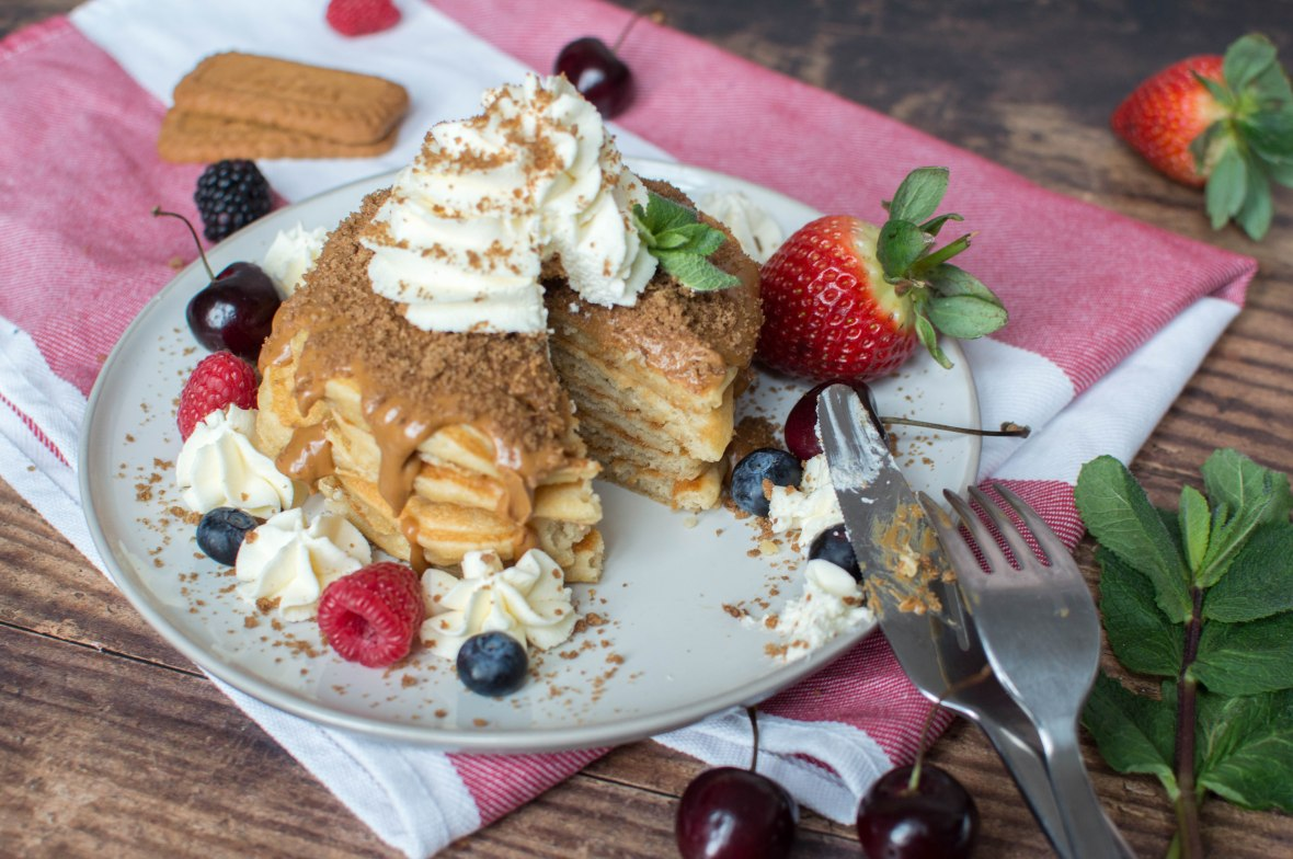 Speculoos Pancakes With Whipped Cream And Berries - Kay's Kitchen