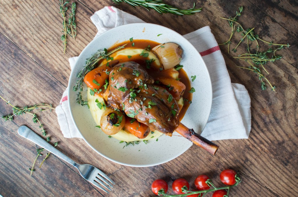 Slow Cooked Lamb Shanks With Creamy Mashed Potatoes - Kay's Kitchen