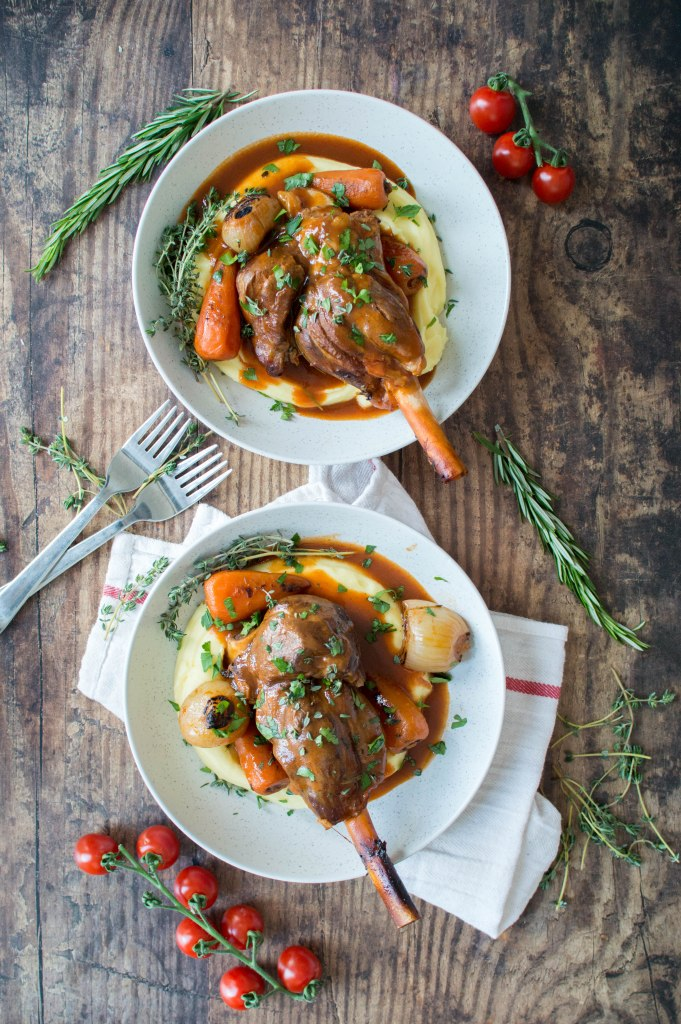 Tomato And Herb Braised Lamb Shanks Served With Creamy Mashed Potatoes - Kay's Kitchen
