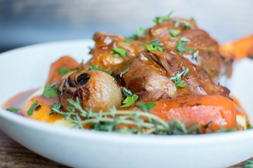 Tomato Braised Lamb Shanks With Carrots, Onions And Fresh Herbs, Served Over Creamy Mashed Potatoes - Kay's Kitchen