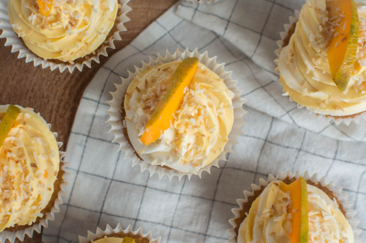 Coconut And Alphonso Mango Cupcakes - Kay's Kitchen