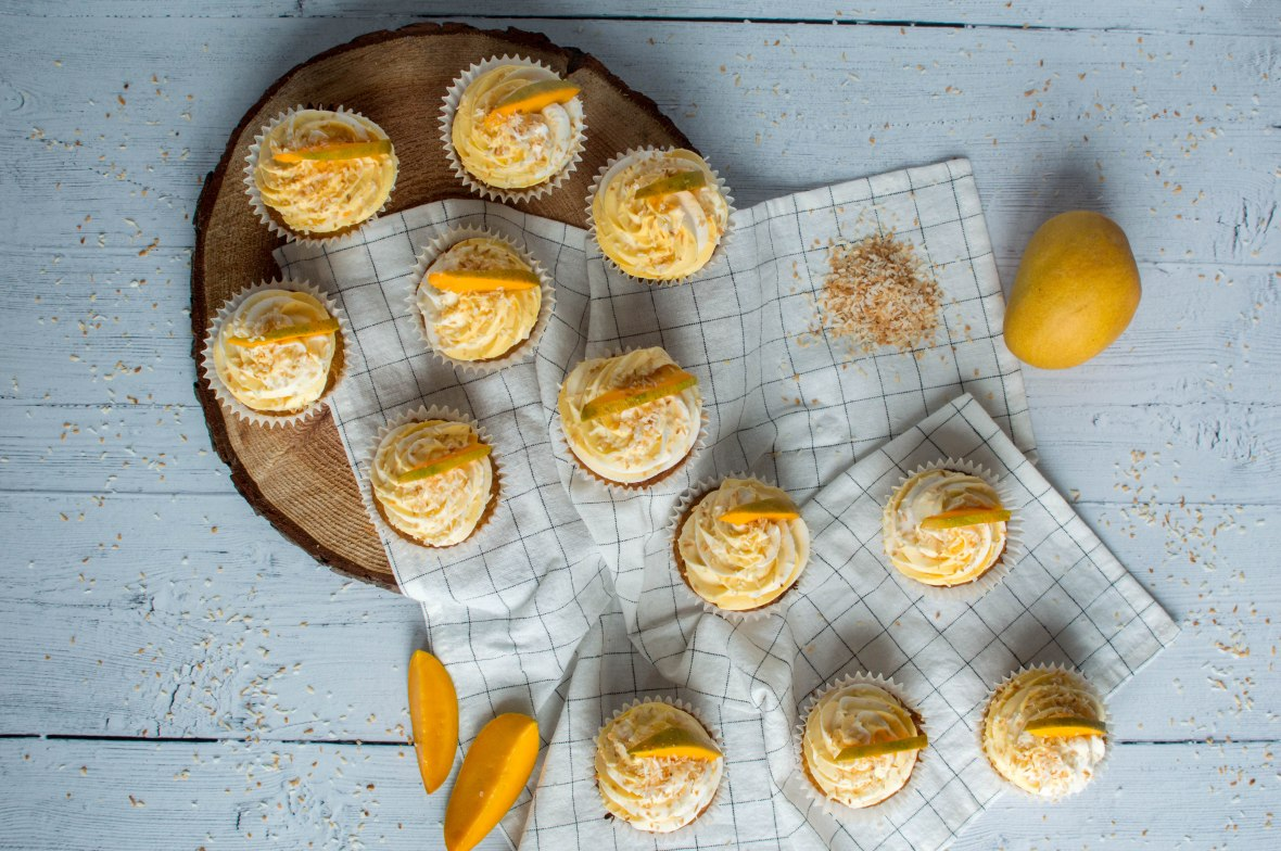 Flatlay Of Coconut And Mango Cupcakes - Kay's Kitchen