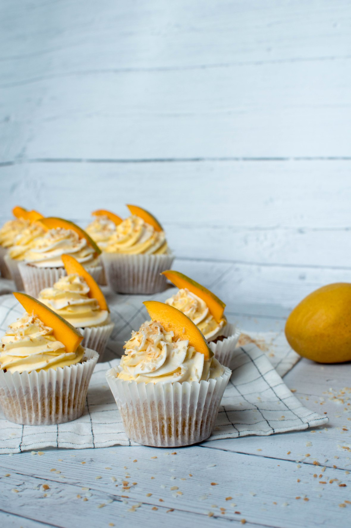 Mango & Toasted Coconut Cupcakes - Kay's Kitchen