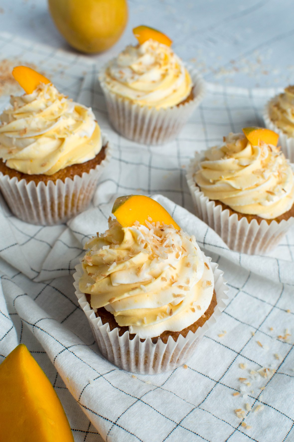 Recipe For Alphonso Mango & Toasted Coconut Cupcakes - Kay's Kitchen