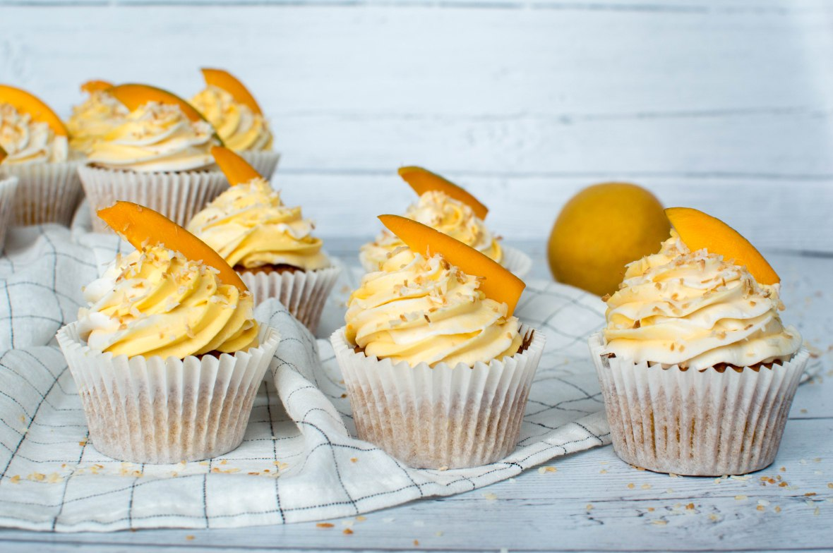 Row Of Alphonso Mango And Coconut Cupcakes - Kay's Kitchen