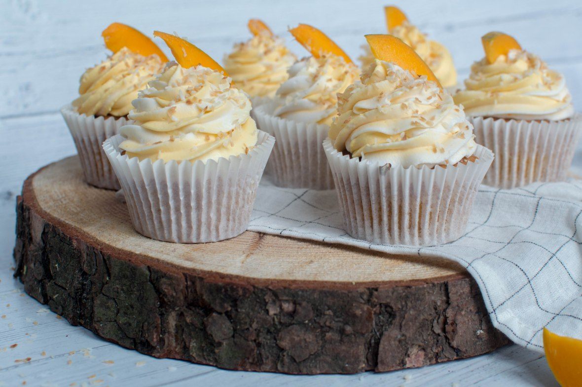 Summer Cupcakes - Alphonso Mango And Coconut - Kay's Kitchen