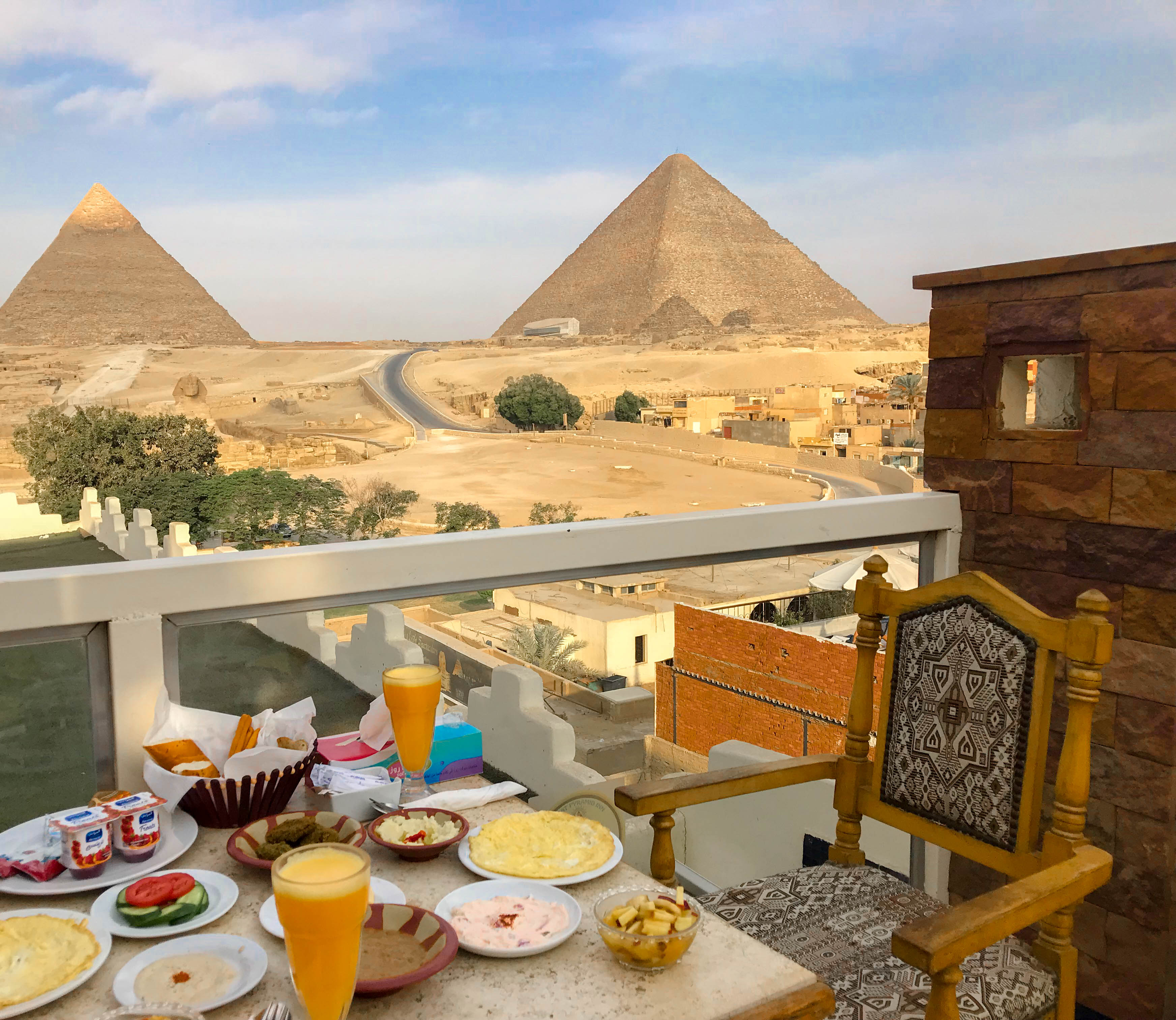 Breakfast Overlooking The Pyramids, Cairo, Egypt