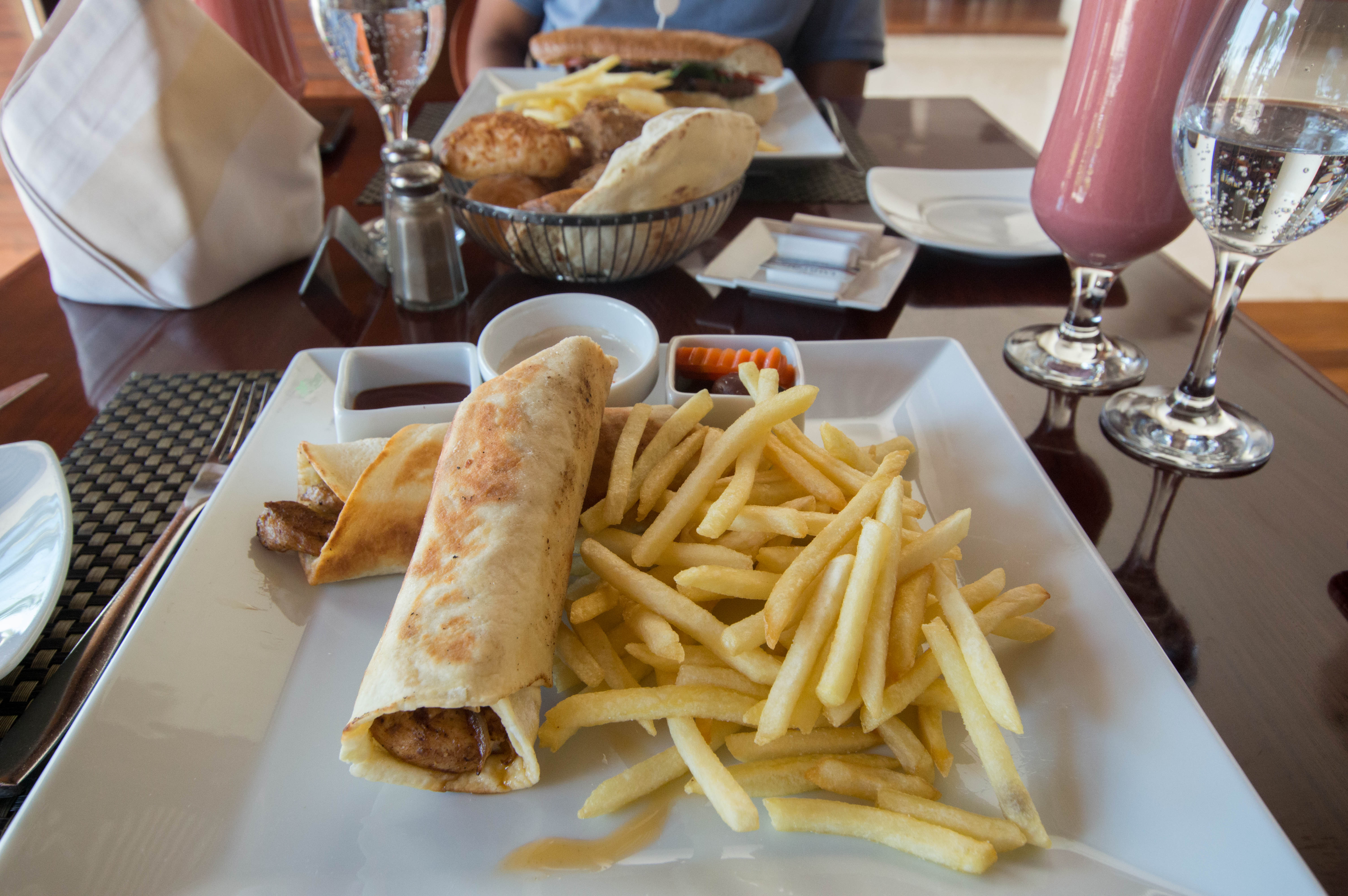 Chicken Shawarma Wrap And Steak Sandwich, Lunch at Hilton Hotel, Luxor, Egypt