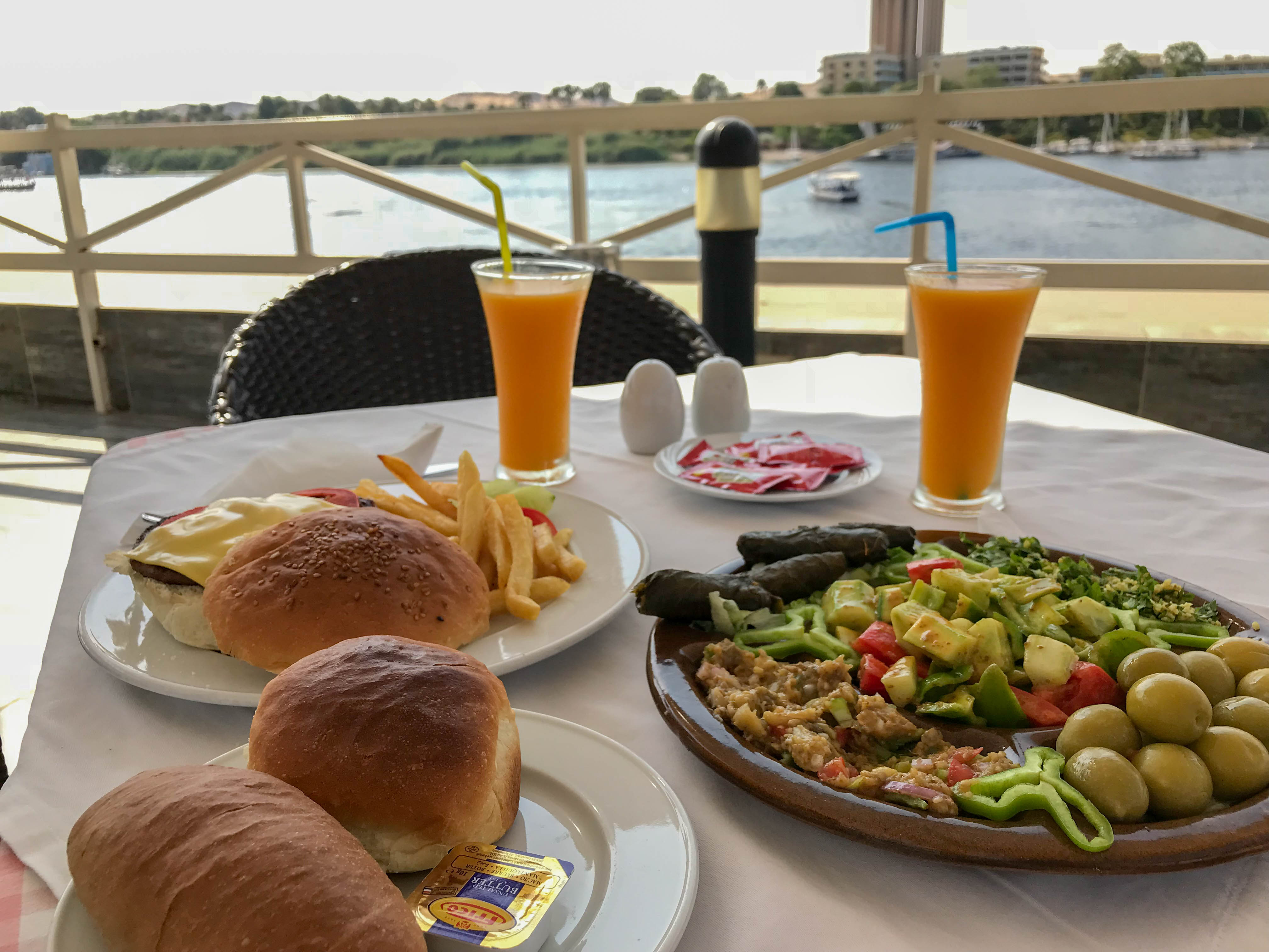 Mezze And Burgers, Lunch, Hotel Isis Corniche, Aswan, Egypt