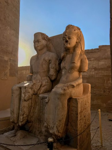 Statue of King Tut (Tutankhamen) & His Wife Ankhsenamunat the Luxor Temple