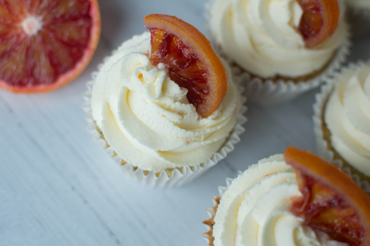Candied Blood Oranges On Cupcakes - Kay's Kitchen