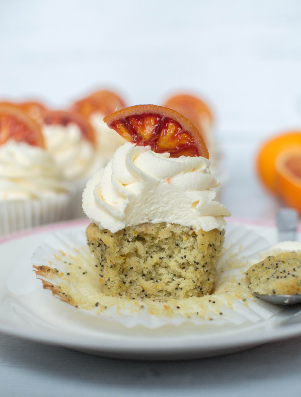 Poppy Seed & Blood Orange Cupcakes - Kay's Kitchen