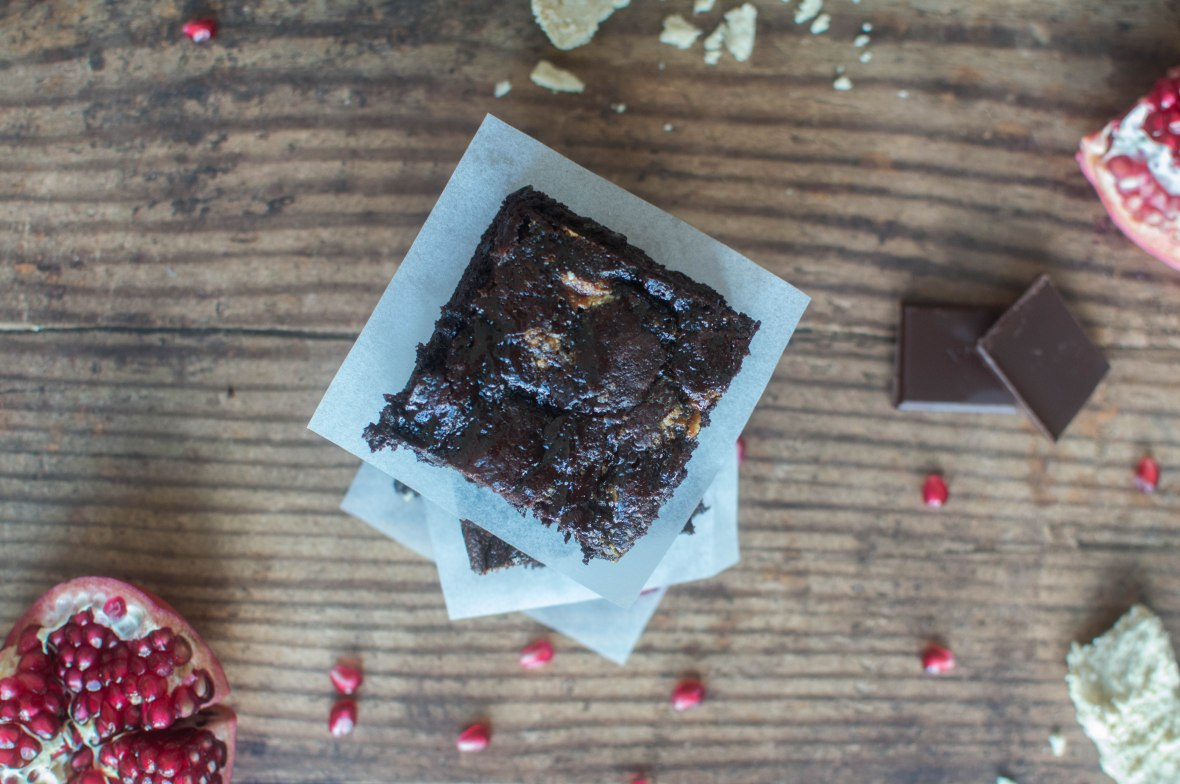 Brownies With Tahini Halva And Pomegranate Molasses - Kay's Kitchen