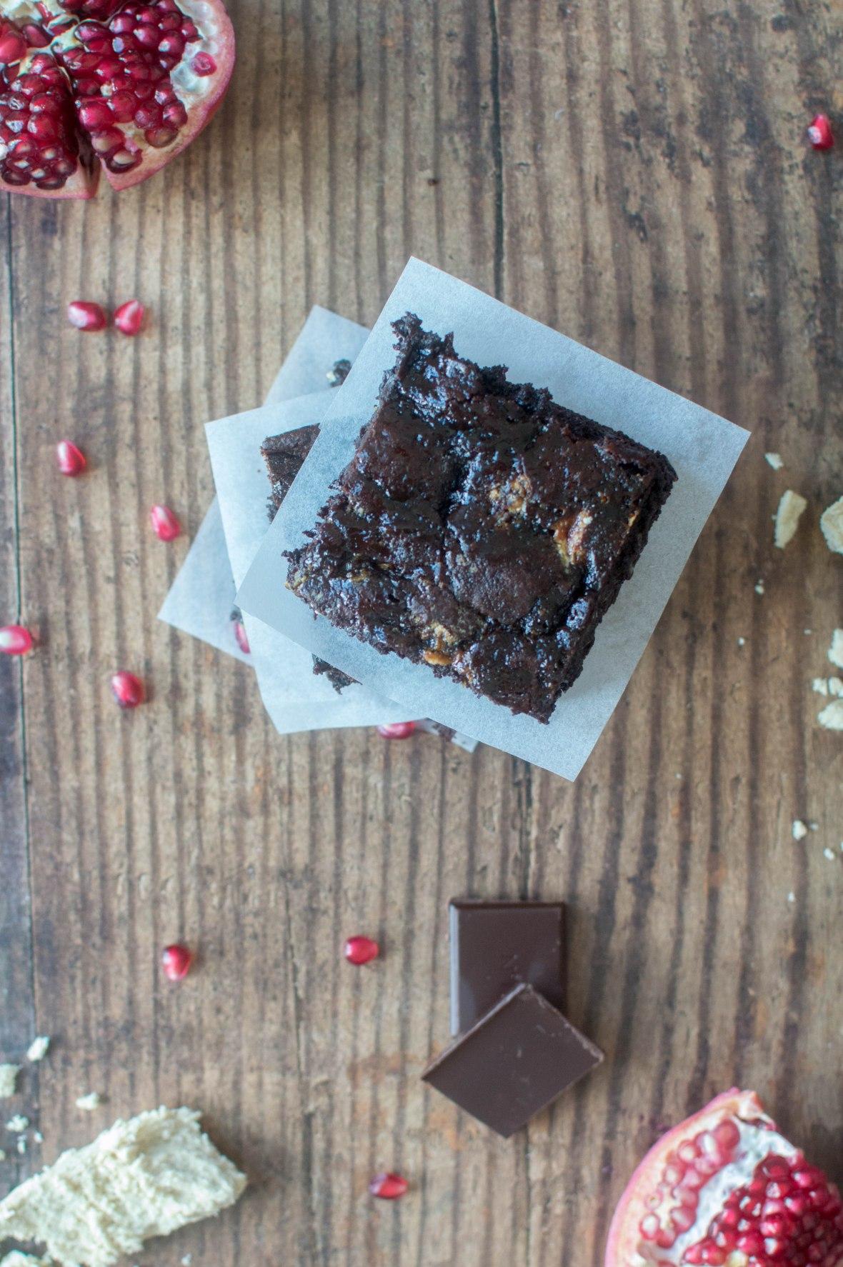 Halva & Pomegranate Molasses Brownies - Kay's Kitchen