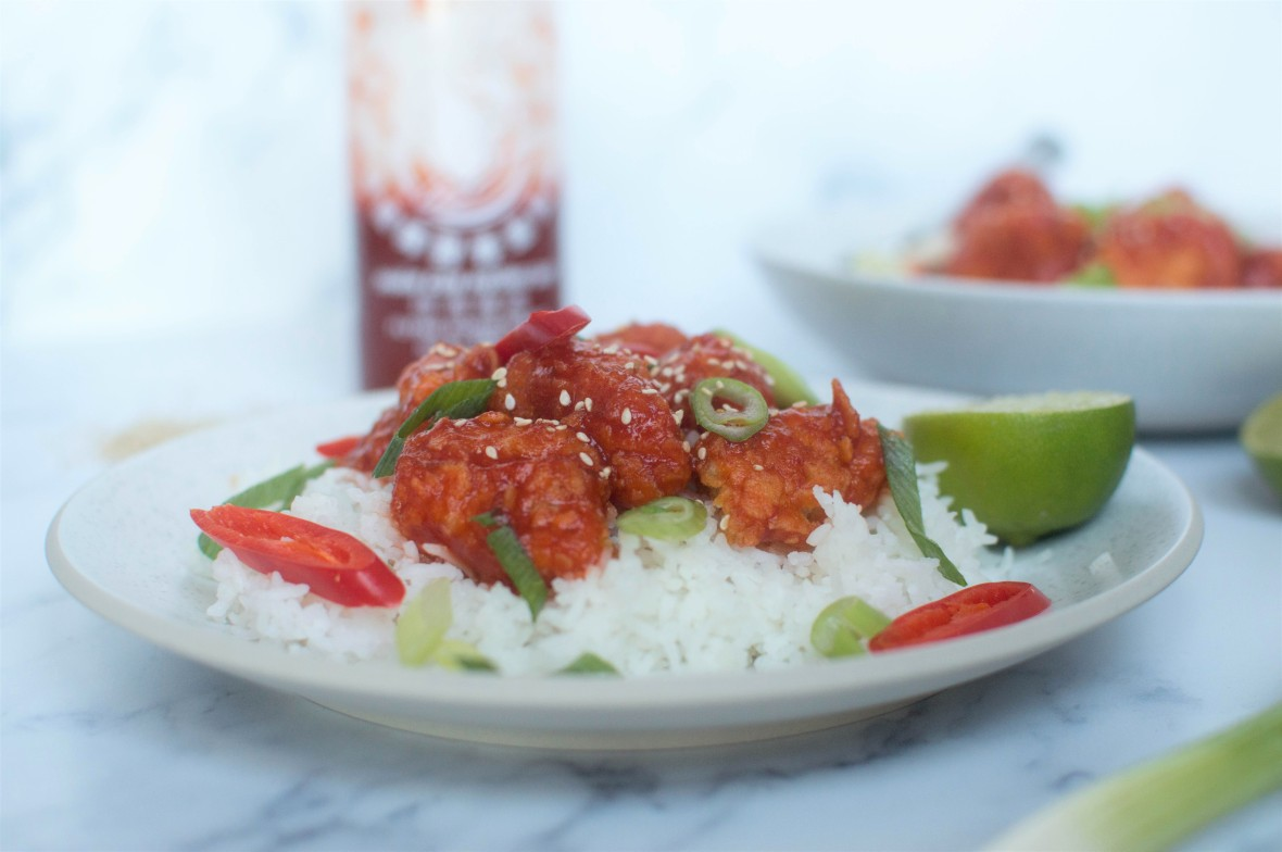 Sriracha & Maple Syrup Chicken Bites With Lime - Kay's Kitchen