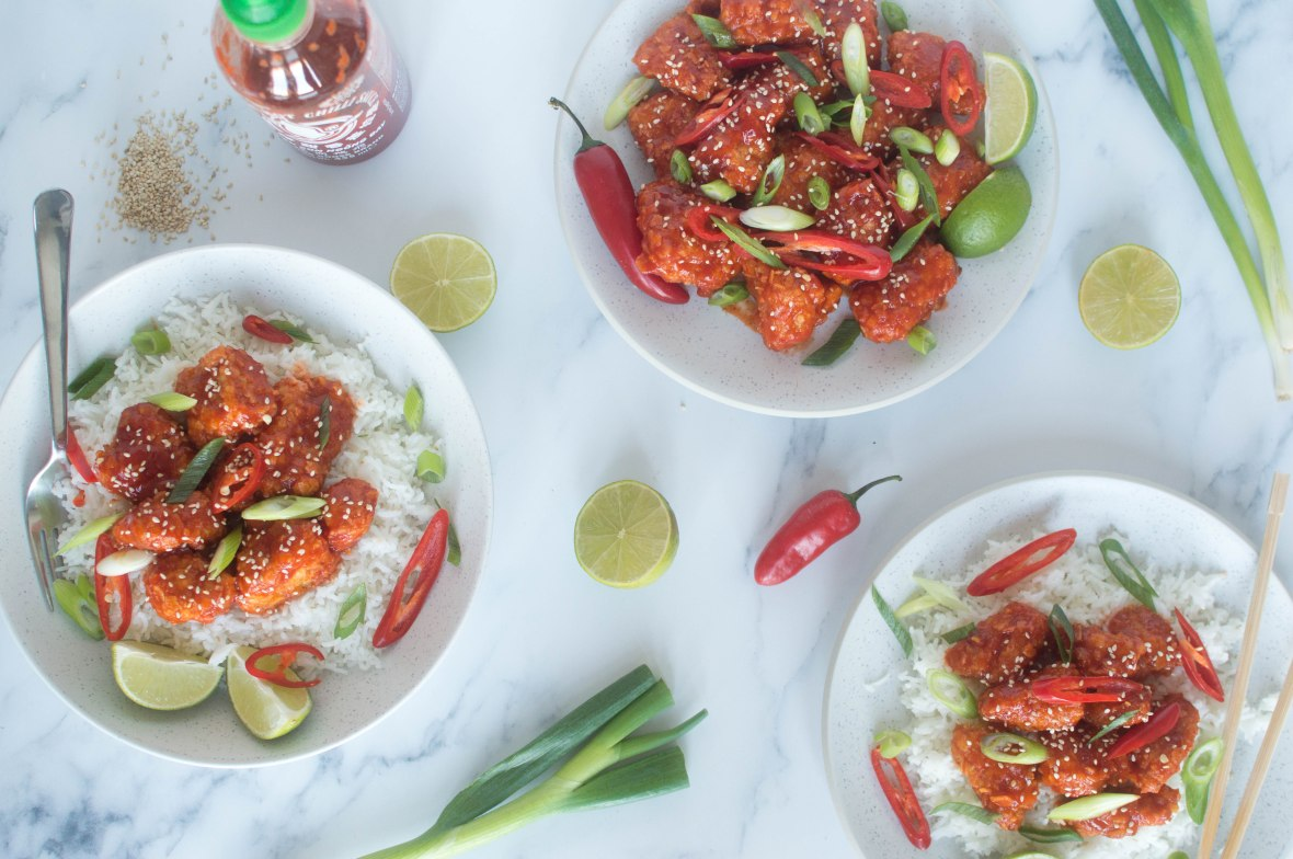 Sriracha, Maple Syrup & Lime Crunchy Chicken Bites Served With Rice - Kay's Kitchen