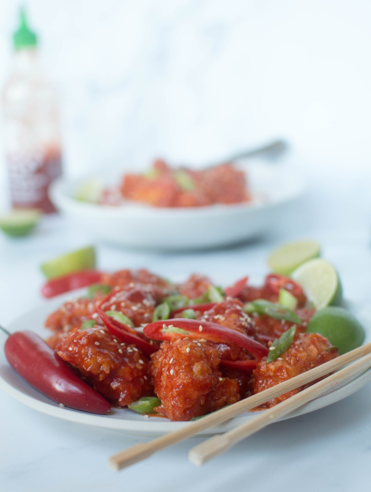 Sriracha, Maple Syrup & Lime Crunchy Chicken - Kay's Kitchen